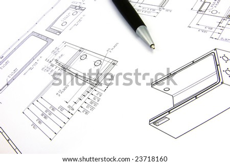 Detail view of an industrial drawing with a pen. - stock photo