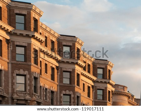 Detail view of Boston's famous brownstone architecture