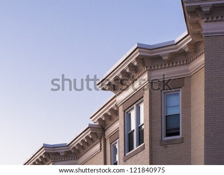 Detail view of Boston's famous brownstone architecture - stock photo