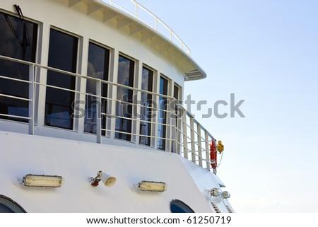 Detail view of bridge on white ferry - stock photo