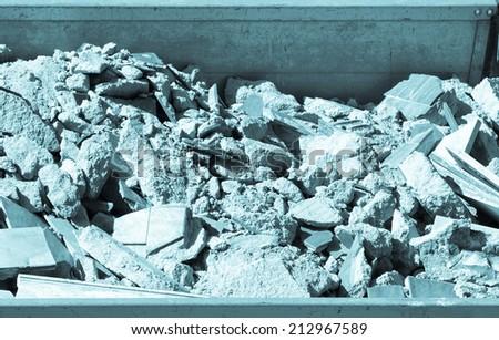 Detail view of debris or demolition waste - cool cyanotype - stock photo