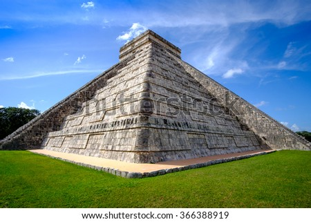 Detail view of famous Mayan pyramid (one of new Seven wonders of the World) in Chichen Itza, Mexico - stock photo