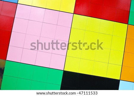 Detail view of modern city architecture with colorful pattern
