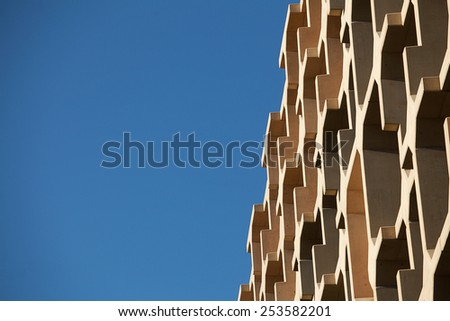 Detail view of modern city architecture with interesting patterns and shapes - stock photo