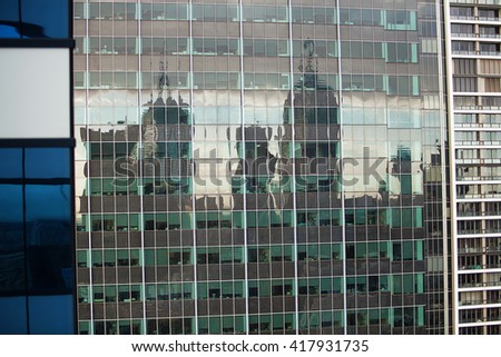 Detail view of modern city architecture with interesting patterns and shapes, Melbourne, Victoria, Australia - stock photo