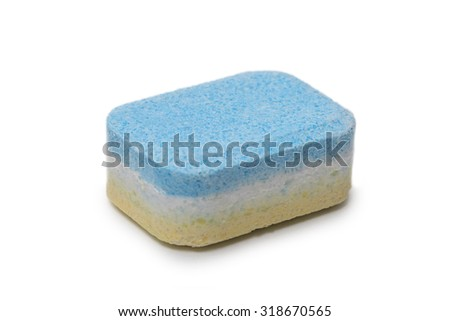Detail view of of dishwasher tablet isolated on white background