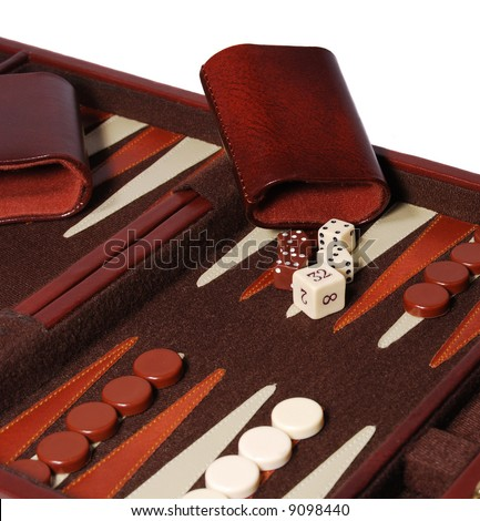 Detail view of portable backgammon game board and pieces. - stock photo