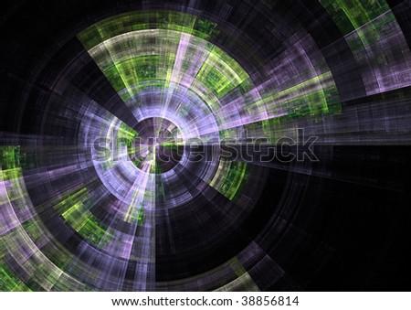 Detail view of radar in matrix fractal form - stock photo