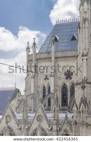 Detail view of San Juan basilica, a neo gothic style catholic church located in the historic center of Quito, Ecuador. - stock photo