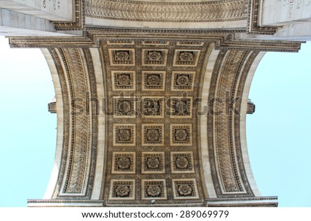 Detail view of the Arc de Triomphe (Arch of Triumph), upward view when standing under the Arch, Paris, France - stock photo