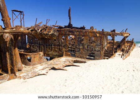 Detail view of the Maheno shipwreck on Fraser island - stock photo