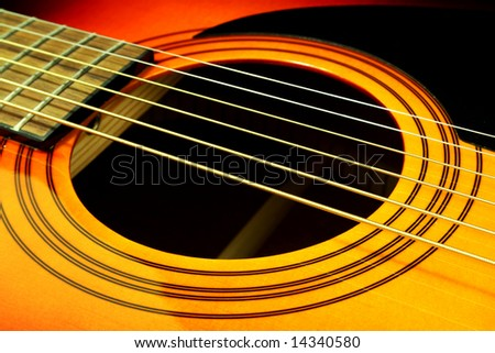 detail view of the sound hole and strings of an acoustic guitar