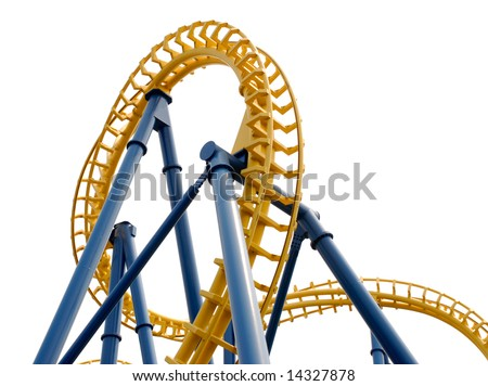 Detail view of the track of a roller coaster -- Isolated on white - stock photo