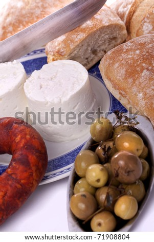 Detail view of the typical ingredients of a snack on the Alentejo region on Portugal. - stock photo