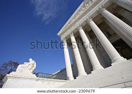 Detail view of the United States Supreme Court Building, Washington, DC. - stock photo
