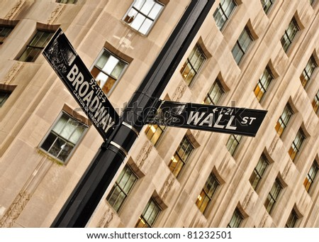 Detail view of Wall street and Broadway street sign, Manhattan, New York, USA - stock photo