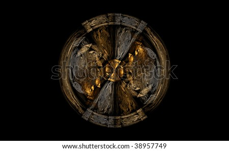 Detail view of wooden shield - stock photo