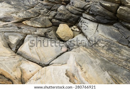 Detail view on a abrasion rocky