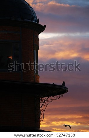 Detail view on sunrise of Olh?o's city market building located on Algarve, Portugal. - stock photo