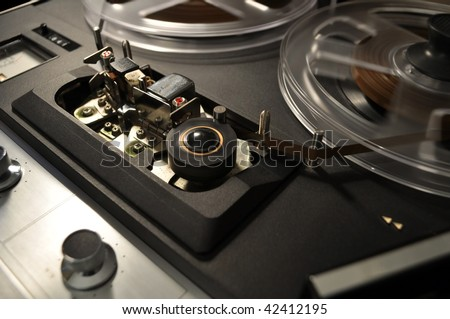 detail, vintage reel-to-reel recorder - stock photo