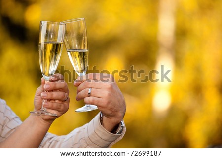 Detail with glasses of champagne - stock photo