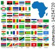 Detailed African flags and map manually traced from public domain map - also available in EPS format - stock photo