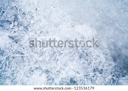 Detailed background texture of fresh thin ice - stock photo