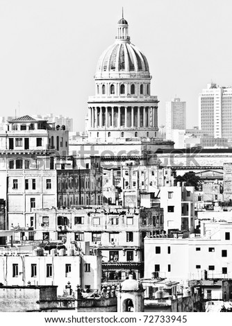 Detailed black and white image of Old Havana with the Capitol building - stock photo