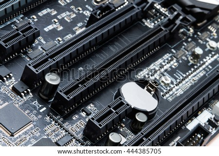 Detailed black motherboard for a personal or server computer - stock photo