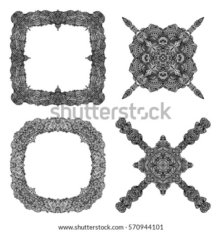 Detailed black ornament collection isolated over white background
