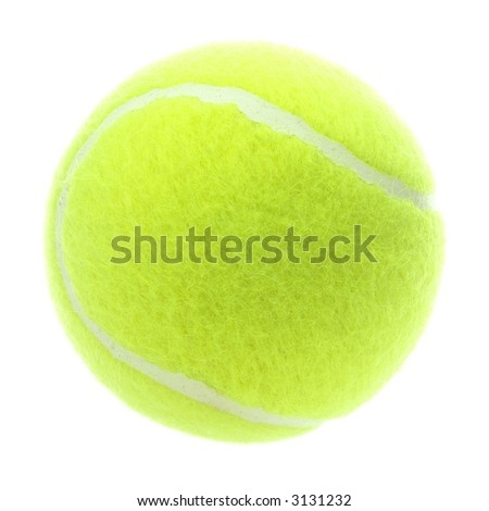 Detailed brand new tennis ball isolated on white - stock photo