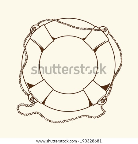 Detailed brown outlines nautical life buoy isolated on beige background. Ship element. Raster copy. - stock photo