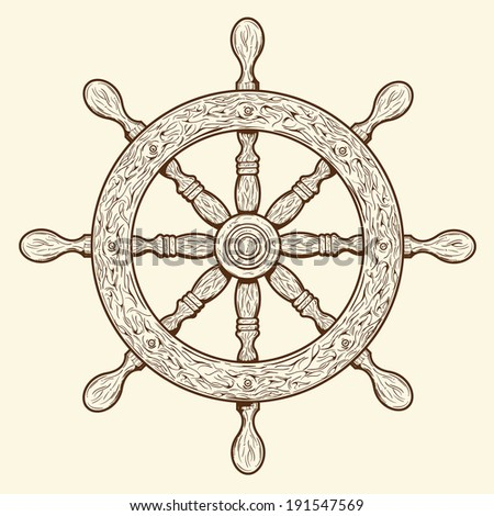 Detailed brown outlines nautical rudder isolated on beige background. Ship element. Raster copy. - stock photo