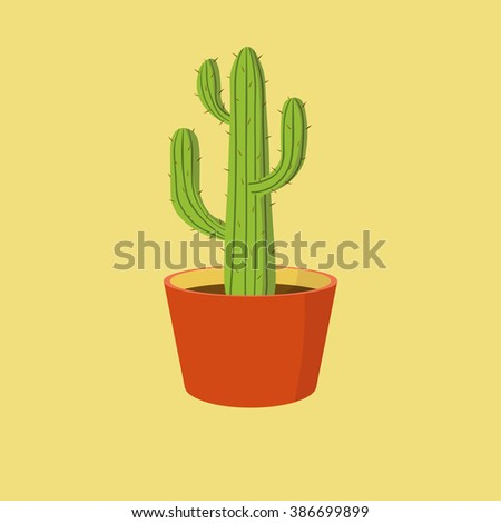 Detailed cactus in orange clay pot isolated on yellow background - stock photo