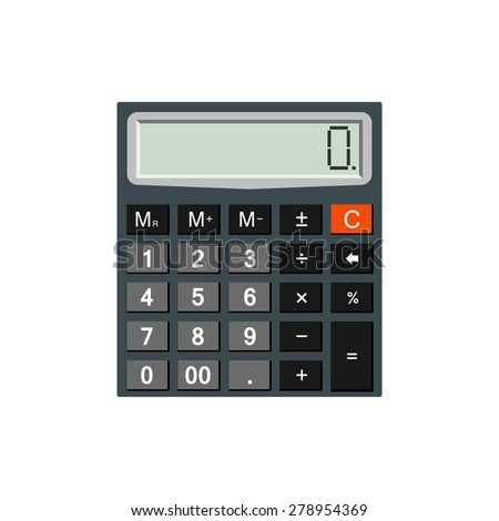 Detailed calculator isolated on white background for e-business, web sites, mobile applications, banners, corporate brochures, book covers, layouts etc. Raster illustration - stock photo