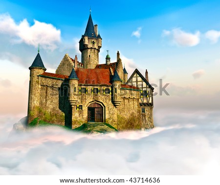 Detailed Castle sits high above the clouds. Surrounded by rolling Cumulus clouds below and rich blue sky with swirling Cirrus Clouds. Original Illustration. - stock photo