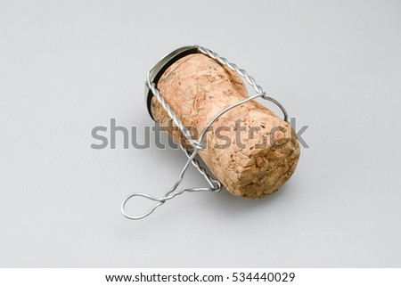 detailed champagne cork on white background