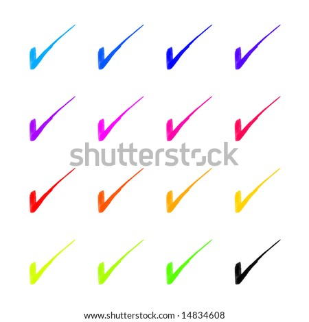 Detailed check mark in 16 different colors. High-resolution scan. - stock photo