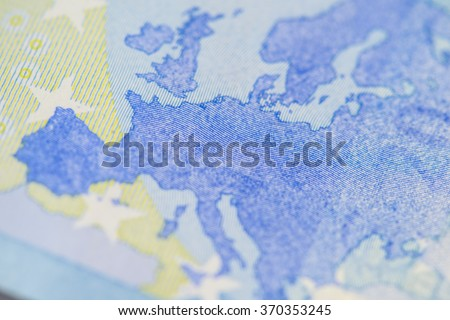 Detailed close up of Europe on a twenty Euro banknote  - stock photo