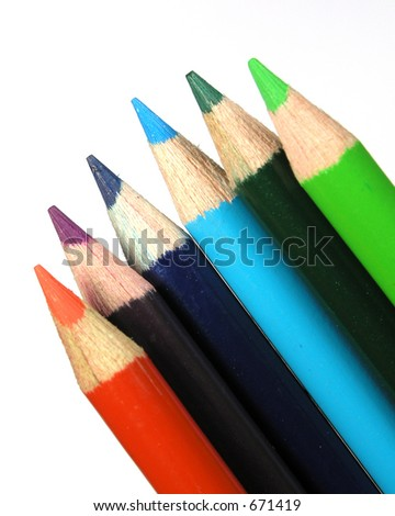 Detailed colored pencil macro isolated over white