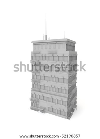 detailed 3D building - stock photo