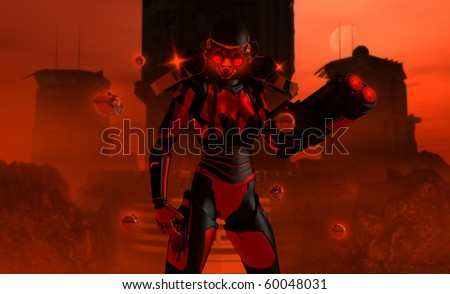 detailed 3d illustration of a futuristic high-tech warrior equipped with Gatling guns and a arm cannon, repair drones hover near by. - stock photo