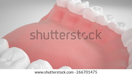 Detailed 3d illustration of a human mouth with teeth and gums - stock photo