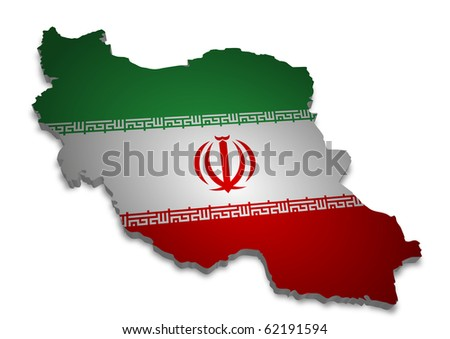 detailed 3d map of iran with flag - stock photo