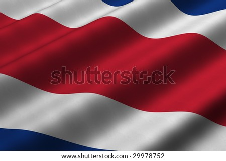Detailed 3d rendering closeup of the flag of Costa Rica.  Flag has a detailed realistic fabric texture. - stock photo