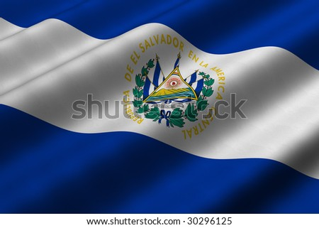 Detailed 3d rendering closeup of the flag of El Salvador.  Flag has a detailed realistic fabric texture. - stock photo