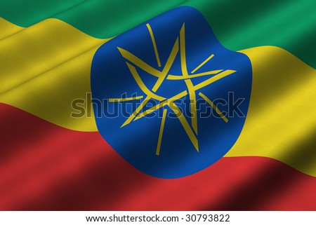 Detailed 3d rendering closeup of the flag of Ethiopia.  Flag has a detailed realistic fabric texture.