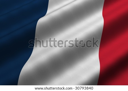 Detailed 3d rendering closeup of the flag of France.  Flag has a detailed realistic fabric texture. - stock photo