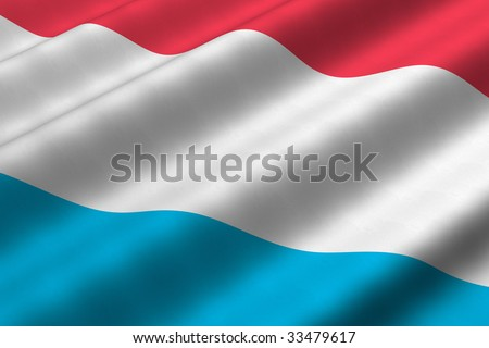 Detailed 3d rendering closeup of the flag of Luxembourg.  Flag has a detailed realistic fabric texture.