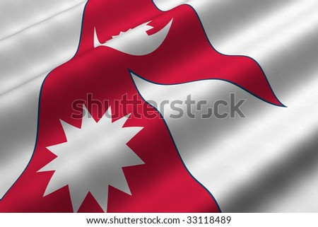 Detailed 3d rendering closeup of the flag of Nepal.  Flag has a detailed realistic fabric texture. - stock photo
